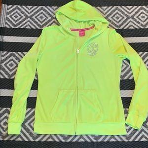 Hard Candy. Neon green zip up sweatshirt